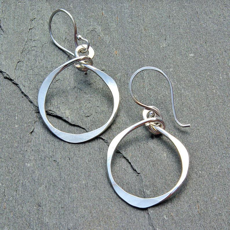 d02a36159 Hammered Silver Hoop Earrings Silver Dangle Hoop Earrings   Etsy