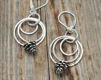 Pine Cone Earrings, Sterling Silver Double Hoop Earrings, Open Circle Earrings, Pinecone Earrings, Nature Earrings, Woodland Earrings