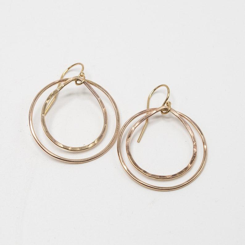 Double Hoop Earrings Simple Gold Earrings Niobium Ear wires image 0