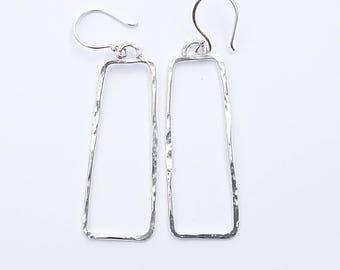 Geometric Sterling Silver Earrings, Contemporary Earrings, Open Rectangle Earrings, Sterling Silver Earrings Geometric, Minimalist Earrings
