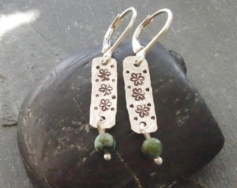 Boho Earrings, Small Dangle Earrings, Flower Earrings, Dangle Earrings, Turquoise Earrings, Boho Jewelry, Flower Earrings, Handmade Jewelry