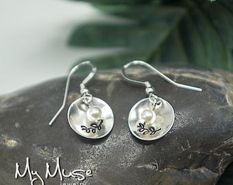 Pearl Earrings, Silver Earrings, Stamped Jewelry, Small Dangle Earrings, Small Pearl Earrings, dainty Earrings, Feminine Earrings,