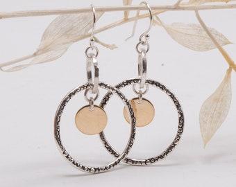 Sterling Silver Double Hoop Earrings, Mixed Metal Dangle Hoop Earrings, Unique Hoop Earrings, Open Circle Earrings, Silver Hoop Earrings