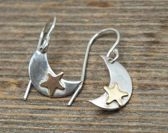 Sterling Silver Moon Earrings, Small Moon Earrings, Moon Star Earrings, Moon and Star Dangle Earrings, Mixed Metal Crescent Moon Earrings