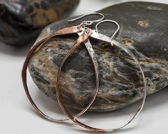 Big Hoop Earrings, Teardrop Earrings, Silver Oval Hoops, Bronze Earrings Hoop, Mixed Metal Earrings, Long Dangle Earrings