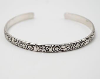 Silver Cuff Bracelet, Solid Silver Bangle, 925 Cuff Bracelet, Boho Bracelet, Flower Cuff Bracelet, Stacking Bracelet