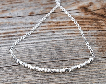 Sterling Silver Necklace for Women, Dainty Beaded Necklace,  sterling silver bead chain necklace, Bead Bar Necklace, Layering Necklace
