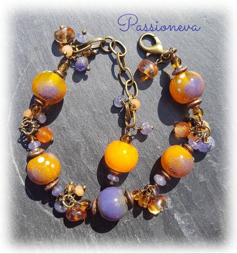 Bracelet beads spun glass beads bronze tone semi precious orange purple.