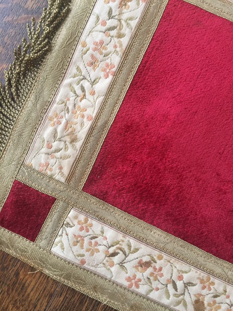Antique tablerunner doily tablecloth Belgian French bourgeoise home decor velvet silk gold metallic trim chateau boudoir Belle \u00c9poque