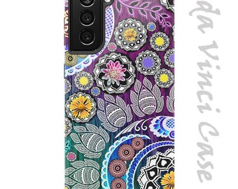 Petals and Paisley Floral Case for Samsung Galaxy S21  S21 Plus  S21 Ultra Dual Layer Tough Case