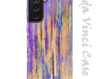 Purple and Yellow Case for Samsung Galaxy S21 / S21 Plus / S21 Ultra - Purple Abstractus - Dual Layer Case