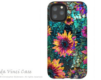 Shattered Beauty - Teal Floral Case for iPhone 12 Mini / iPhone 12 /  iPhone 12 Pro  / iPhone 12 Pro Max / Dual Layer Tough Case