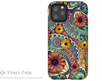 Petals and Paisley - Floral Case for iPhone 13 Mini / iPhone 13 /  iPhone 13 Pro  / iPhone 13 Pro Max / Dual Layer Tough Case