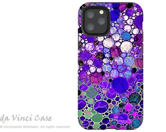 Purple Abstract iPhone 13 mini / iPhone 13 / iPhone 13 Pro  / iPhone 13 Pro Max / Dual Layer Tough Case - Grape Bubbles