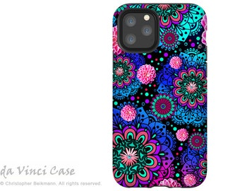Frilly Floratopia - Paisley Case for iPhone 13 Mini / iPhone 13 /  iPhone 13 Pro  / iPhone 13 Pro Max / Pink and Blue Dual Layer Tough Case