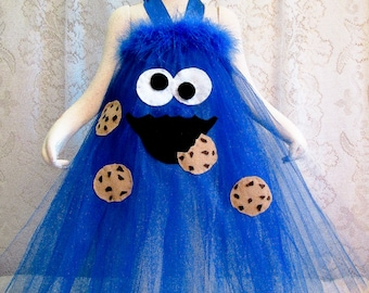Fits 2T - 4T Halloween Costume Cookie Monster Long Halter Style Tutu Cookie Monster Birthday Tutu Photo Prop & Cookie monster tutu | Etsy