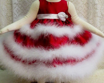 Size 3 - 6 mo. Red 3 Tier Dress & Matching Rosette Headband, 2 pc, Pageant Dress, Babys 1st Valentine Dress Set, Photo Prop, Ready to Ship!