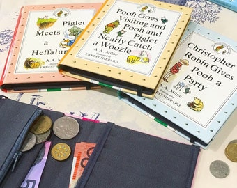 Book Wallet Winnie the Pooh Purses Upcycled book