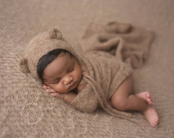 Knit alpaca wrap and bear bonnet set Newborn photo prop preorder UK seller long knit alpaca wrap newborn photography prop neutral textures