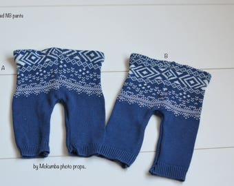 SALE CLEARANCE Ready to ship Newborn pants - blue winter pattern  NB baby photo prop Clearance Sale