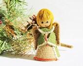 Mid Century Kitsch Burlap Angel Figurine / 1970s Hippie Retro Groovy Mod Christmas Decoration