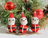 Three Charming Mid Century Pipe Cleaner Santa Claus Figurines / Spun Cotton Bottle Brush Tree / Japan 1950s 1960s Christmas Décor Ornaments