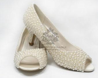 9876ccfe78ec2b Bella - Ivory Pearl Peep Toe 2.2