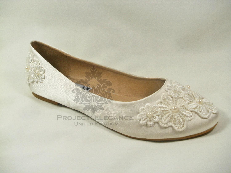 Ivory Wedding Shoes Flat, Ivory Bridal Shoes Flat, Lace Wedding Shoes,  Wedding Ballet Flats, Ivory Pearl Wedding Flats   Daisy