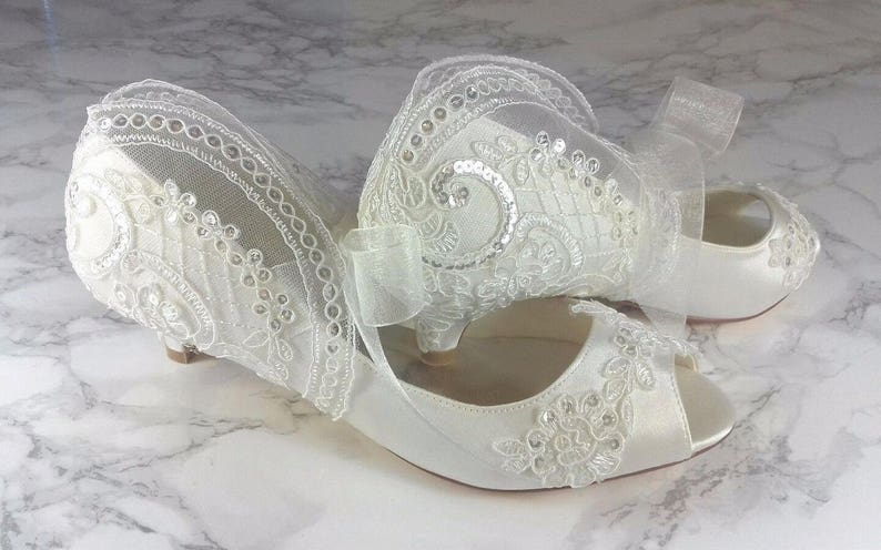 37d7c18dd93 Ivory Vintage Lace Sequin Peep Toe Low Heel Shoes 1 Inch