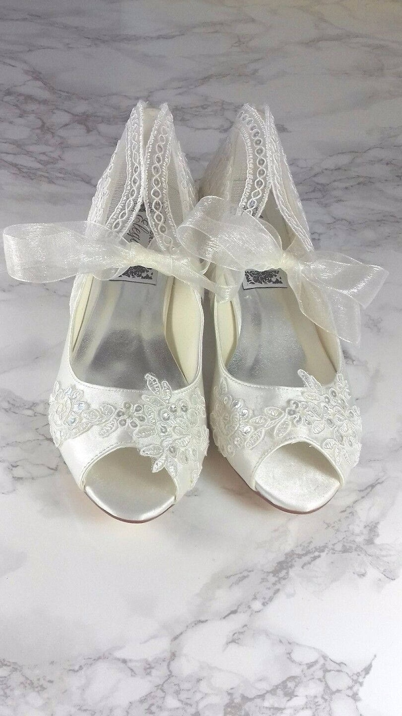 202fca14c Ivory Vintage Lace Sequin Peep Toe Low Heel Shoes 1 Inch   Etsy