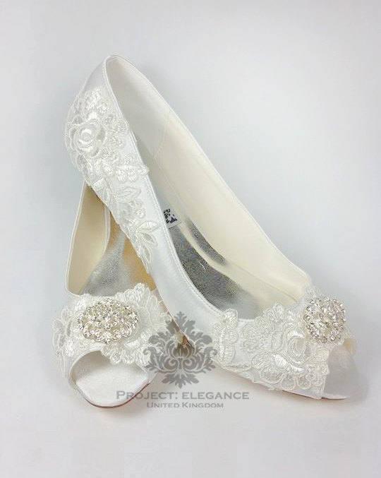 Nellie Ivory Vintage Lace Peep Toe Low Heel Shoes 1 2 3 4 Inch Mid Kitten Heel Very Low Lace Wedding Shoes Low Heel Wedding Shoes