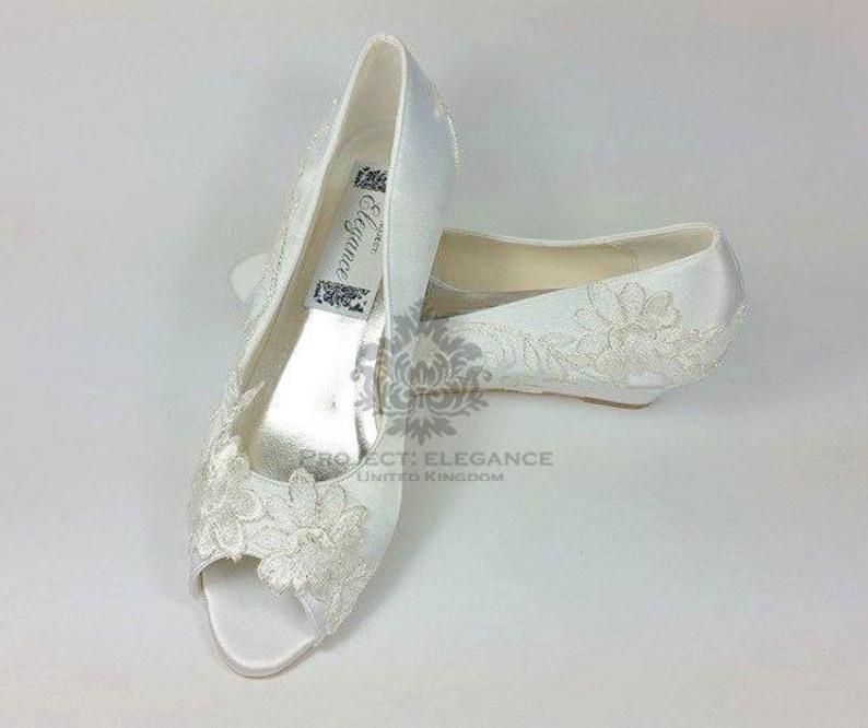 8ab344884 Ivory satin Vintage Lace Peep Toe Wedge Low Heel Shoes Inch   Etsy