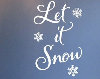 Let it Snow - Christmas Seasonal decoration vinyl wall lettering, Wall Decal, Wall Decor, Holiday, Snow flakes, frozen flakes, HH2125