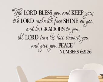 Numbers 6:24-26, The Lord Bless you and Keep you, Benediction Blessing, Religious Bible Verse wall vinyl Decal Sticker, church NUM6V24-0002