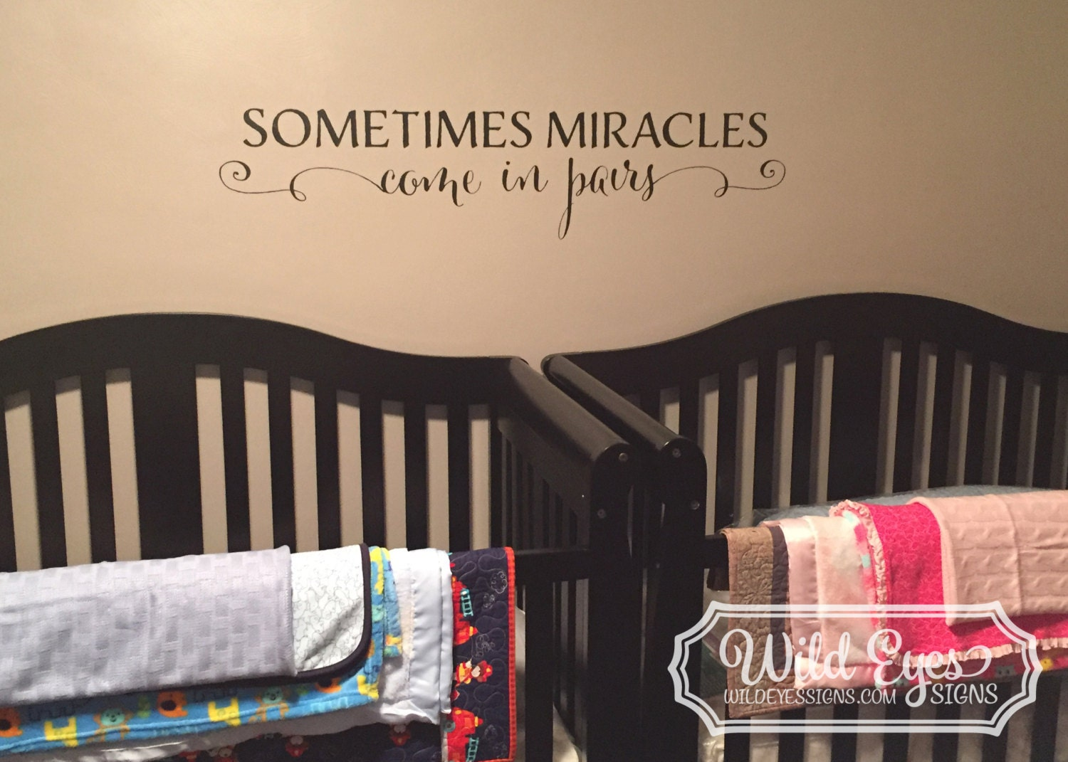 3c5b94995559 Sometimes Miracles come in Pairs -Twin Vinyl Wall Lettering Wall Decal  Nursery TWINS0002