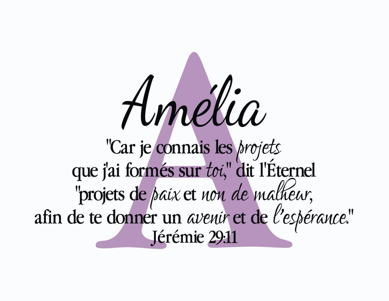 Jeremie 29 11 Versets De La Bible Sticker Mural Ecriture Monogramme French Translation Wall Art