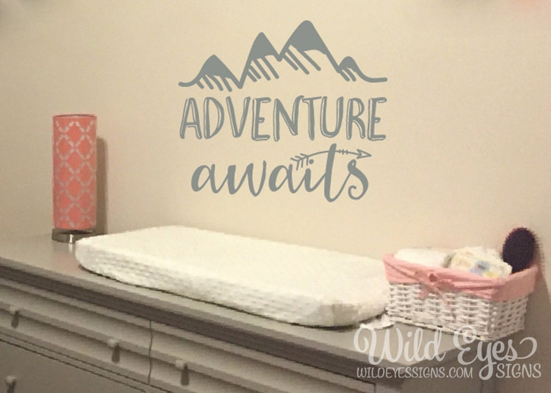 adventure awaits vinyl wall decal art nursery quote removable | etsy