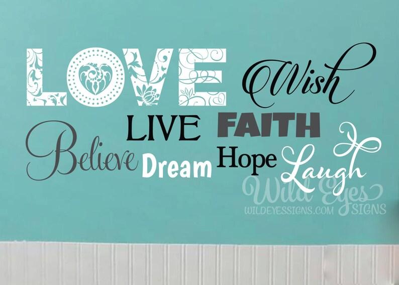 Teen Word Collage, Girls Room, Teen Girl, Teen Design, Wall Decal, Vinyl  Decal, Love, Wish, Live, Faith, Believe, Dream, Hope, Laugh CT4546