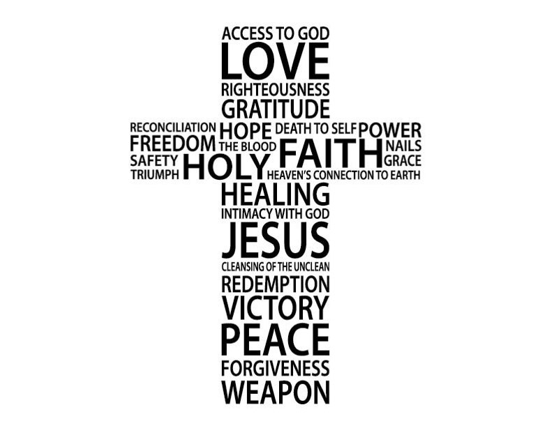 Cross collage, Christian words, Love, Faith, Hope, Peace, Victory, Jesus,  Church, Inspirational, vinyl decal, wall decal, Youth, RE3117
