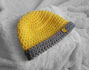 Handmade yellow baby crochet beanie aae4d277afe2