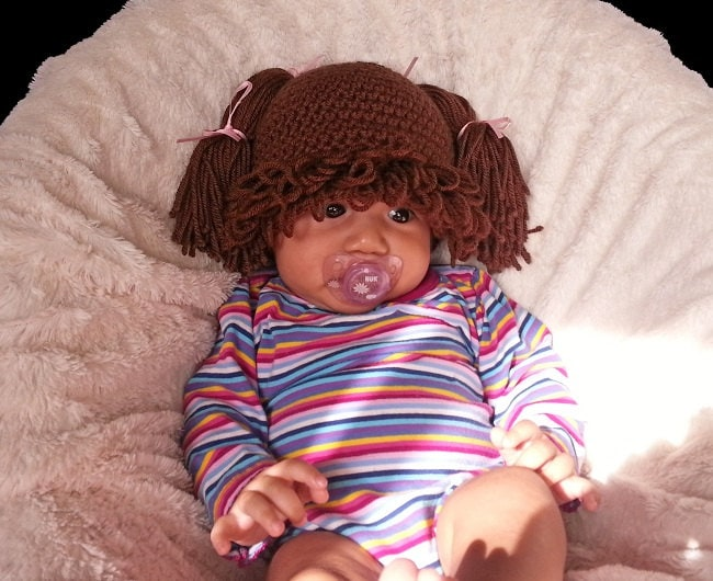 Cabbage Patch Inspired Hat Baby Wig Brown Hair Handmade Etsy