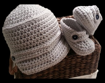 Handmade Baby hat and booties pale gray, any color, newsboy, crochet brim hat, available in sport team colors, infant loafers, baby shoes