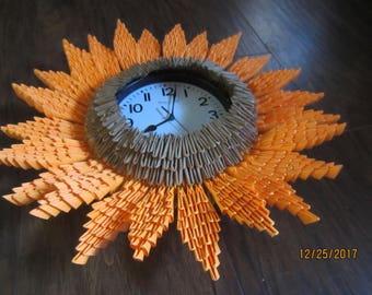 3D Origami Sunflower Clock