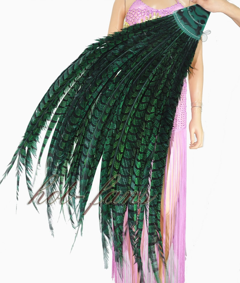 Green Luxury Tall Pheasant Feather Fan Burlesque Perform Friend with Travel leather Bag