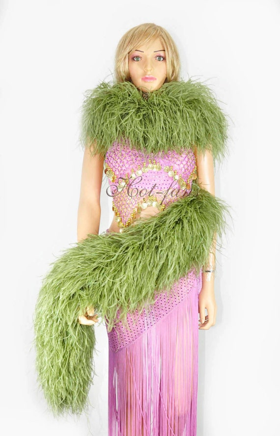 Forest Green 1ply Ostrich Feather Boa Scarf Prom Halloween Costumes Dance Decor