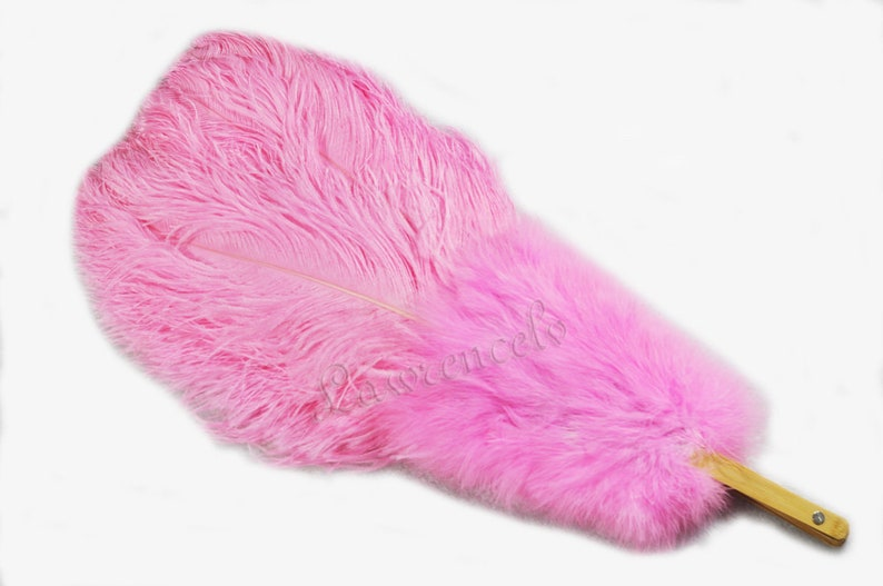 pink Marabou /& Ostrich feathers fan 27x 53 Burlesque friend with Travel leather Bag