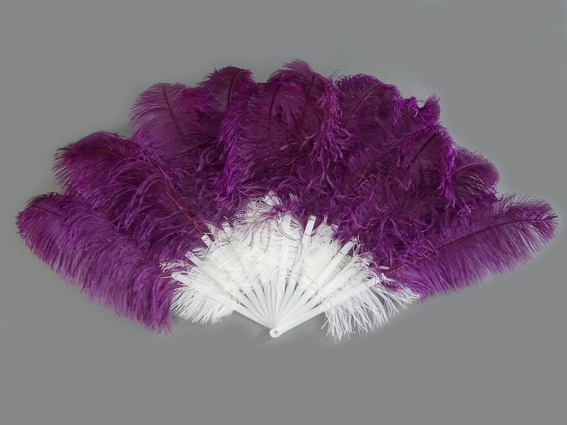 "Violet 21/"" x 38/""  Marabou Ostrich Feather fan with Travel Bag"