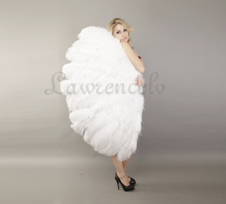 86c288a3fc7e Burlesque white 3 Layer Ostrich Feather Fan Opened 65
