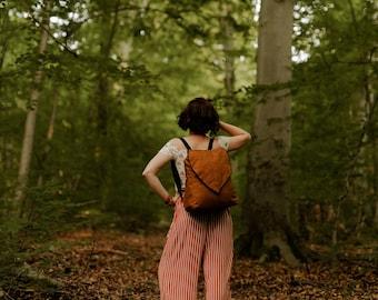 Large Coffee Brown Leaf Backpack