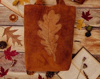 Oak Leaf Corduroy Tote Bag